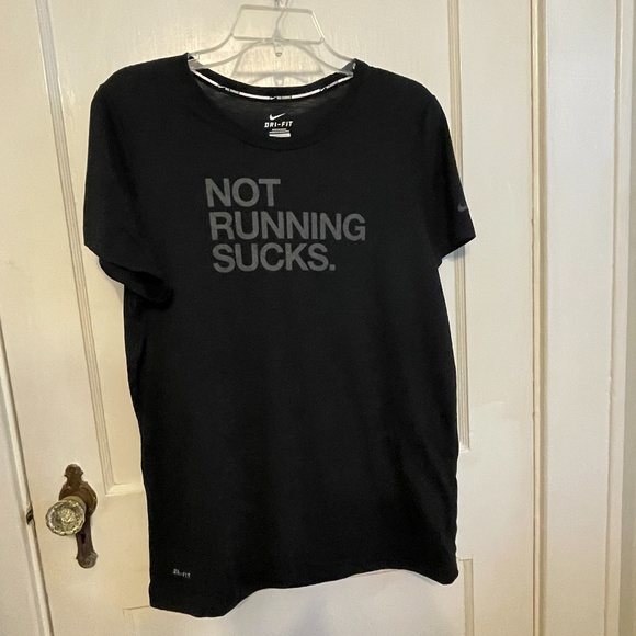 Nike Running Not Running Sucks black graphic shirt